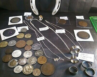 VTG Junk Drawer Lot~Old coins,sterling silver chains,rings,buffalo nickels& more