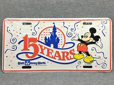 1986 WALT DISNEY WORLD 15 Years Mickey Mouse License Plate (Disney) NEW