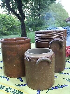 Antique French stoneware Conserving Ceramic Clay Hand Made  Confit Pot Jar Jug