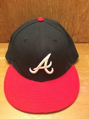 new product 3a813 5b4e8 Atlanta Braves SZ 7 1 2 New Era 59Fifty Game Fitted Hat On-field