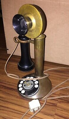 Antique Patented November 1910 Rotary Dial Brass Candlestick Telephone