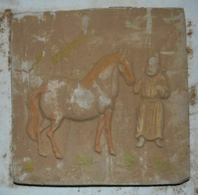 China Tang Dynasty Tomb Burial Wall Painting Old Clay Fired Pottery Mural Brick