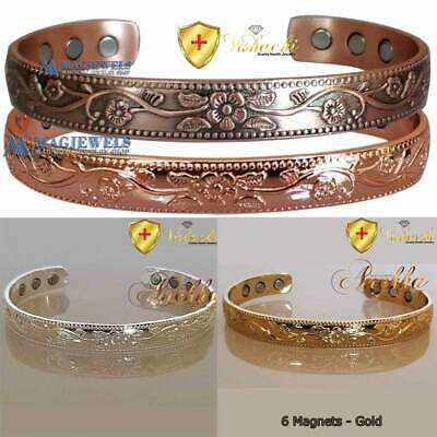 "6 Mags PURE SOLID COPPER MAGNETIC WOMEN BANGLE/BRACELET ARTHRITIS 6.75"" CB68"