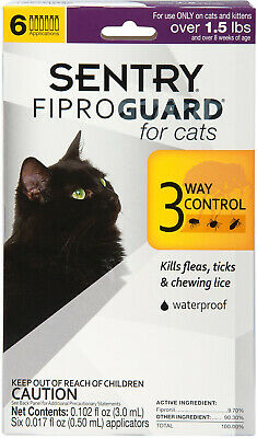 NEW 6 Doses Flea Tick Lice Treatment Drops Topical Medicine for Cats and Kittens