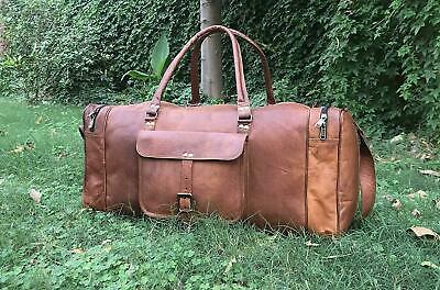 "30"" Large Travel Bag New Genuine Leather Weekend Luggage Duffle Gym Sport Brown"