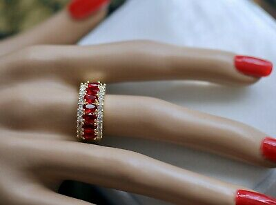 Antique Deco Jewellery Gold Ring Rubies White Sapphires Vintage Jewelry  N or 7