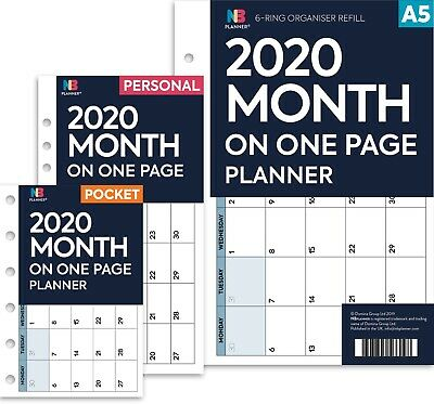 2020 Month on one page planner Filofax A5 / PERSONAL / Pocket Compatible refill