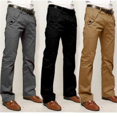 Men's Straight Business Chinos Dress Pants Slim Fit Casual Smart Cotton Trousers