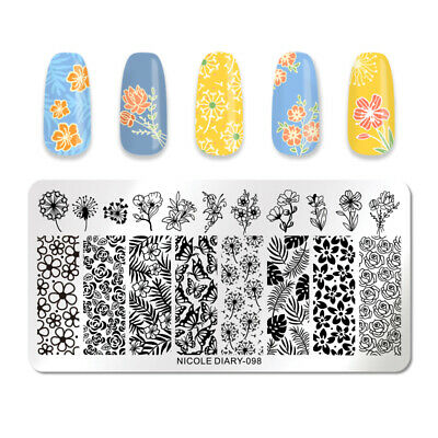 NICOLE DIARY Rectangle Nagel Schablone Stainless Steel Nail Art Stencil 098