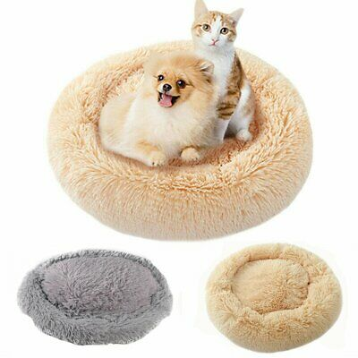 Pet Calming Bed Round Nest Warm Soft Plush Comfortable Free & Fast shipping HD