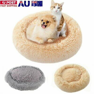 Pet Calming Bed Round Nest Warm Soft Plush Comfortable GR