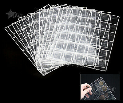 10Pcs Clear Plastic Coin Wallets 30 Pocket Holders Storage Money Album Pages