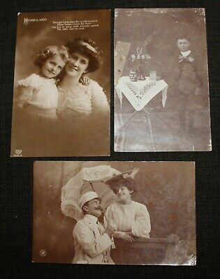 3 x Vintage Postcards Early 1900's Assorted People  - Real Photograph's