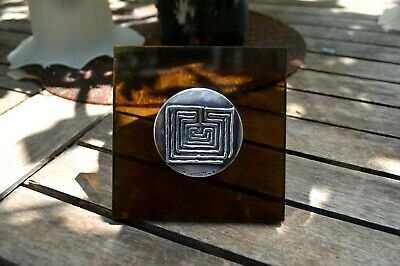 Greek Ilias Lalaounis Decorative Office Plaque Labyrinth Sterling Silver Coin
