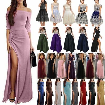 Womens Bridesmaid Split Long Maxi Dress Evening Party Cocktail Prom Gown Dresses