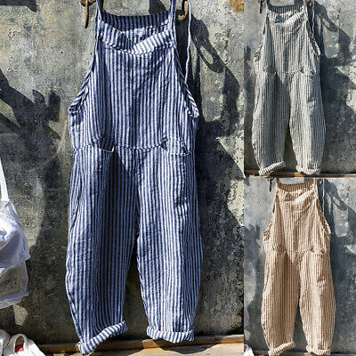 Women's Stripe Linen Cotton Jumpsuit Dungarees Casual Playsuit Trousers Overalls