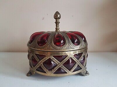 Large Brass & Thick Red Glass Lidded Ornate Candy Trinket Jewellery Bowl Dish