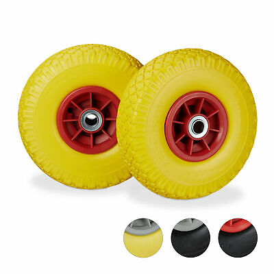 """3.00-4"""" Hand Truck Tyre Set of 2, Solid Rubber Wheels, Friction Bearings, 150 kg"""