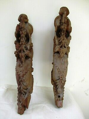 Antique Decorative Indian Corbels Brackets Hand Carved Teak Wooden Gujarat *F