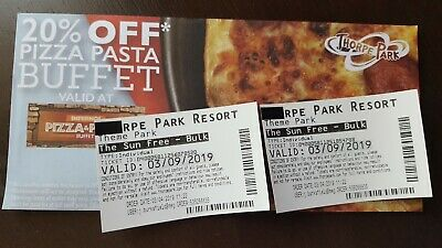2 X THORPE PARK RESORT TICKETS FOR TUESDAY 3rd SEPTEMBER