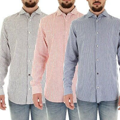 Jack & Jones Mens Casual Cotton Long Sleeved Stripped Slim Fit Shirts