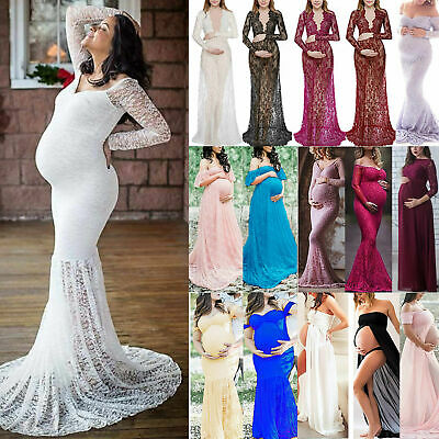 Maternity Women's Lace Photography Long Off Shoulder Pregnant Maxi Party Dress