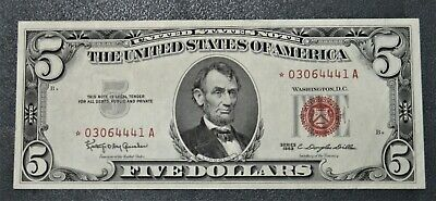 """1963 United States Five Dollar Legal Tender """"Star note"""" in AU+"""