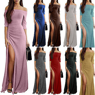 Womens Off Shoulder Split Long Maxi Dress Evening Party Cocktail Prom Dresses