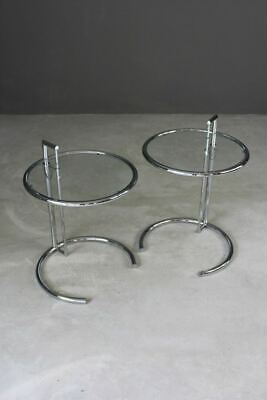 Pair Eileen Gray Inspired Chrome & Glass Round End Bedside Occasional Tables