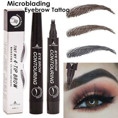 4 Head Microblading Tattoo Eyebrow Pencil Dye Waterproof Fork Tip Sketch Pen FY