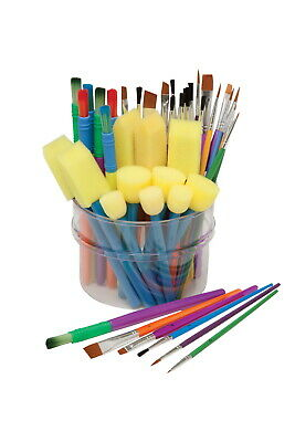 School Specialty Children Assorted Trim Paint Brush Assortment, Pack of 50