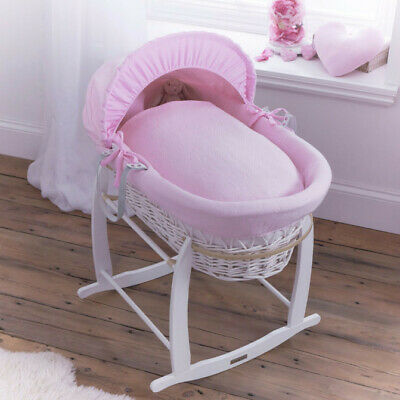 Clair de Lune Cotton Candy Pink Blue White Wicker Moses Basket Baby Girls Boys