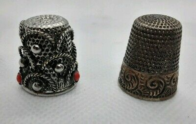 Antique 925 Sterling Silver Thimble by Waite-Thresher Star Size 7 Pre 1930's