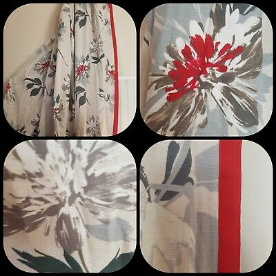 Vintage style next country cottage florals red grey cream lined 89 x 90 cotton