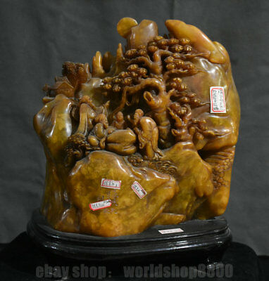 """13.6"""" Antique China Natural Shoushan Stone Carved Old Man Tree Mountain Statue"""