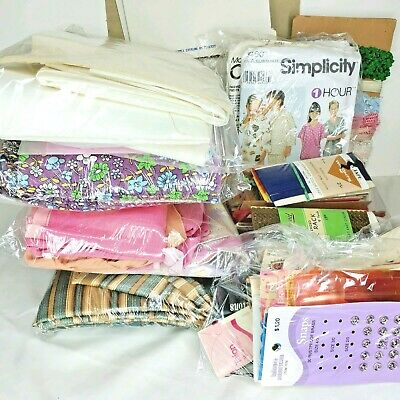Vintage Sewing Items/Supplies Lot: Misc Trim, Notations, Fabric, Binding, & More