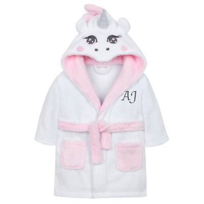 Personalised Initials Unicorn Dressing Gown Pink Nightwear Gifts Girls Custom