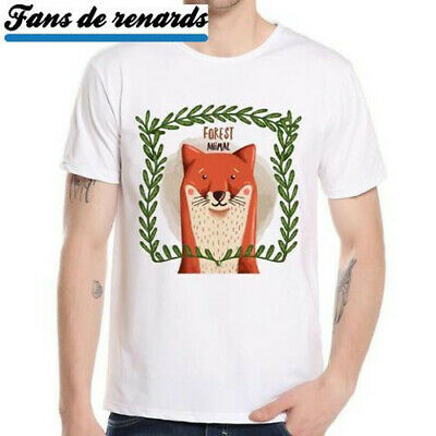 T Tee shirt Renard roux animal dessin Animaux forêt sauvage homme femme