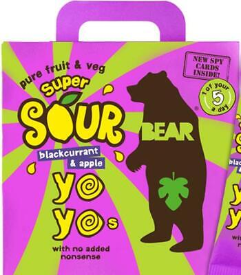 Bear Yoyo SOURS - Pure Fruit Rolls - Blackcurrant And Apple 5 x 20g (Pack of 6)