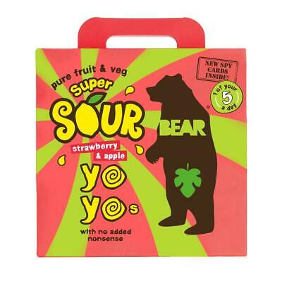 Bear Yoyo SOURS - Pure Fruit Rolls - Strawberry And Apple 5 x 20g (Pack of 6)