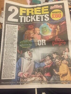 The Sun Newspaper x2 Tickets to Shrek Adventures Or London Dungeons