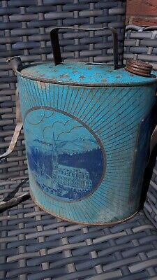 Rare Antique Vintage Lourdes Nd Cathedral Church Can For Holy Water Tin 1900