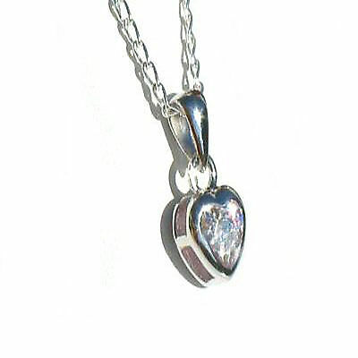 925 Sterling Silver Necklace with cz heart Pendant Chain uk
