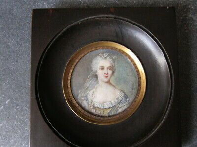 Antique French Miniature Painting Hand Painted Portrait, 19th century,Signed