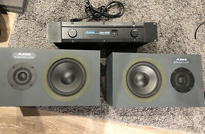 Alesis RA-100 Stereo Power Amplifier And Pair Of Monitor One Studio Monitors