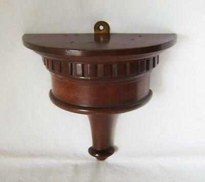 Antique Turned Mahogany Wall Bracket for Small Carriage Clock 16 cm wide