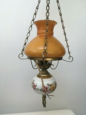 Vintage French Style Brass Ceramic And Glass Electric Ceiling Light On Chain