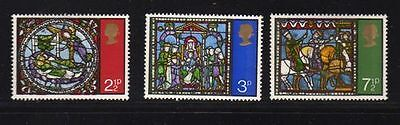 GB 1971 Christmas Stained Glass SG 894/896 Set of 3 Mint MNH