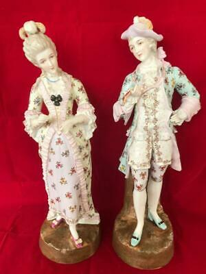 Stunning Pair Of Antique Large Dresden Porcelain Hand Painted Figures.