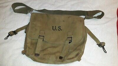 Original Vtg US Army WWII 1942 Musette Bag Canvas Langdon Tent and Awning Co